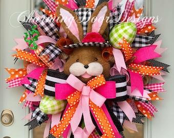 READY TO SHIP! Spring Wreath, Easter Bunny Mesh Wreath, Bunny Head Wreath, Spring Door Decor Wreath, Summer Wreath, Fall Wreath Gift