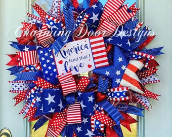 READY TO SHIP! Patriotic Wreath, Labor Day Wreath, 4th of July Wreath, Patriotic America Land that I Love Door Decor, Fall Wreath, Spring