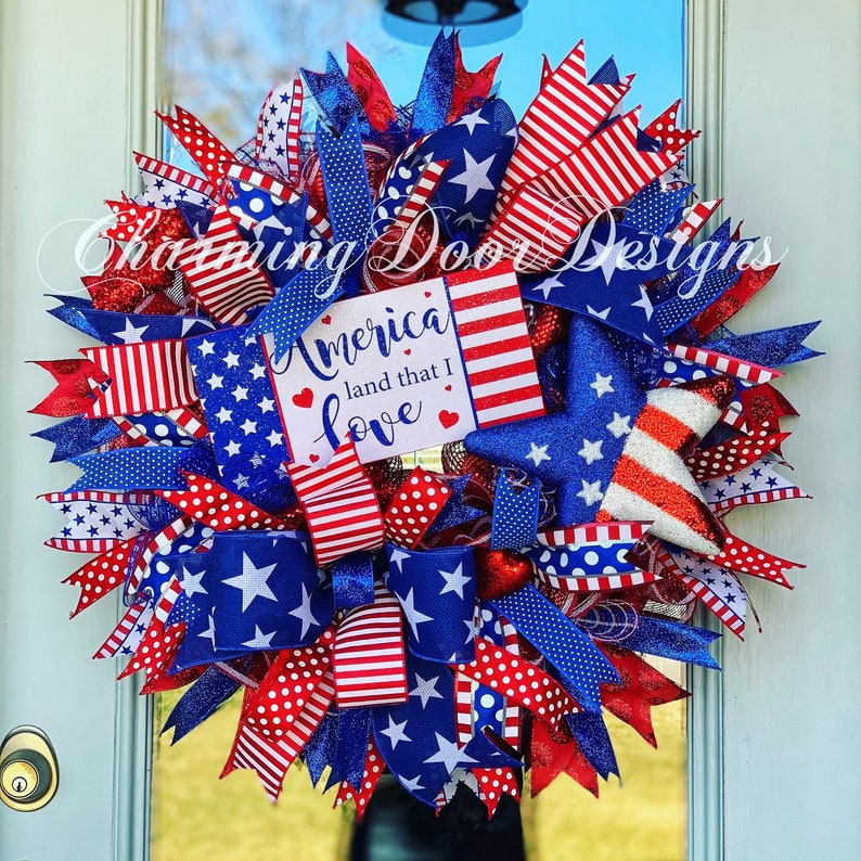 READY TO SHIP Patriotic Wreath Labor Day Wreath 4th of July image 0