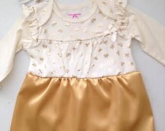 Bodysuit Dress 3-6 Months   Baby Christmas Dress   Baby Holiday Dress   Baby  Gold Dress b1c8431df