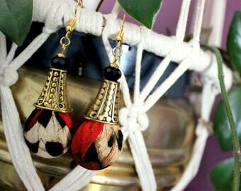 Ethnic earrings, batik earrings, gold cone jewelry, chic curls