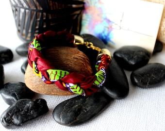 Wax fabric braided bracelet