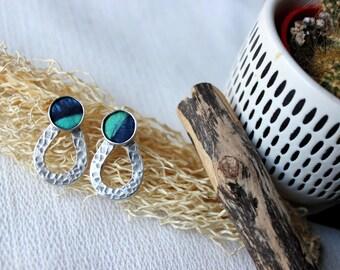 chic ethnic earrings, silver earrings, African fabric jewelry, batik