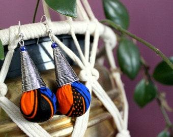 Wax earrings, drop earrings, wax fabric ball, silver cone jewelry