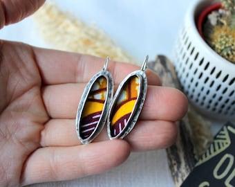 chic ethnic earrings, sleeper, silver jewelry, wax fabric earrings, mustard yellow