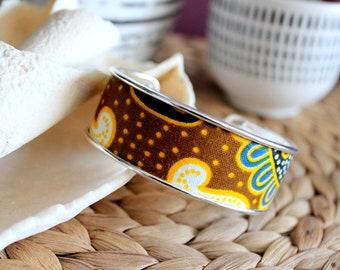 Ethnic cuff bracelet, adjustable bracelet, silver bracelet, wax fabric jewelry