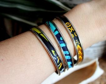 Ethnic bracelet, fine bracelet, adjustable bracelet, silver jewelry, wax fabric bracelet