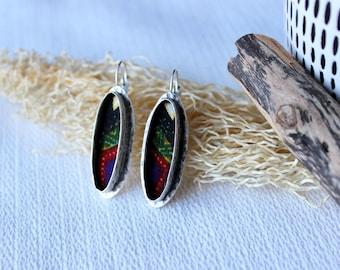 chic ethnic earrings, sleeper, antique silver jewelry, wax fabric earrings