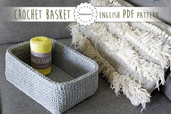 Crochet Rectangular Basket Pattern Crochet Pattern Instant Etsy