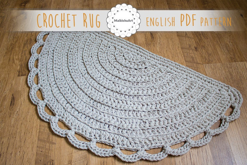 English Rug Pattern Crochet Half Moon Pdf Pattern Crochet Etsy