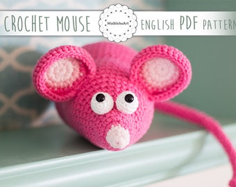 Rom the Mouse, Mouse crochet pattern, Crochet Mouse pattern, instant download, Mouse pattern, crochet Mouse amigurumi
