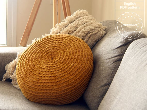 Crochet No Holes Pouf Cover Diy Crochet Pattern Pdf Crochet Etsy
