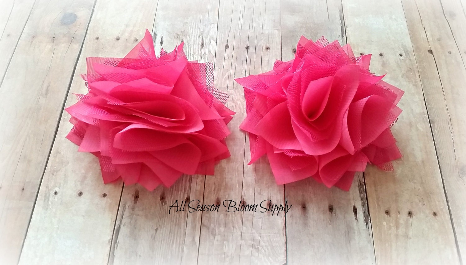 Satin Mesh Flowers Hot Pink Fabric Flower Lace Flowers Etsy