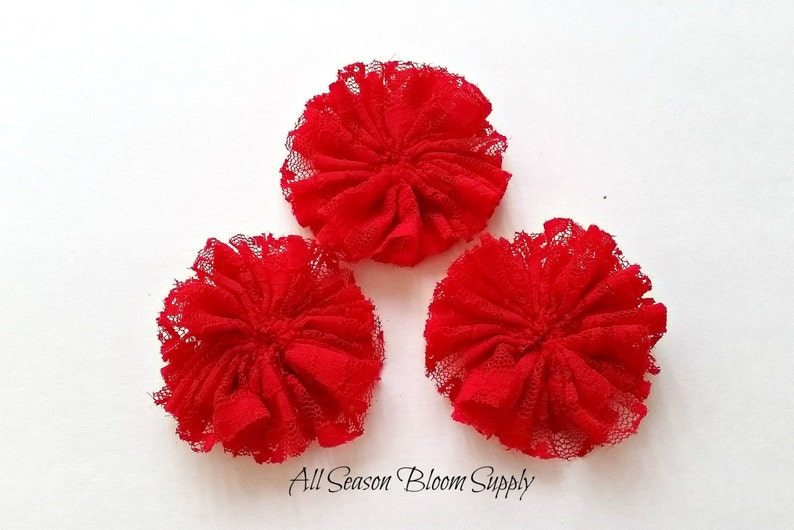 Ballerina Lace Collection Flower Lace Flower 2.8-3 Ciffon Flower DIY -Headband Lace Flower Red Accessory Fabric Flower