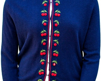 1950 Plus Size Navy Blue Cardigan Sweater Embroidered Cherries Large Retro Pin Up Curvy Cute Lolita Kawaii Cashmere XL XXL Mod Grease Lady