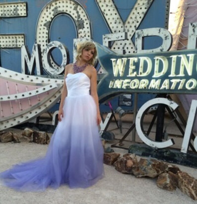 Ombre Wedding Gown: Dip Dyed Wedding Dress Purple Ombre Wedding Dress Couture