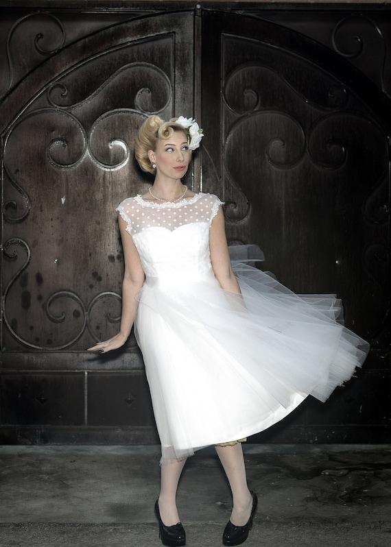 Sale Polka Dot Retro Wedding Dress Short Wedding Dress | Etsy