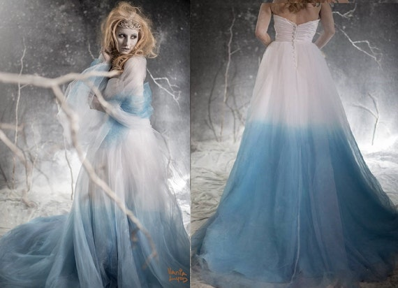 Frozen Ombre Blue Wedding Dress with Crystal