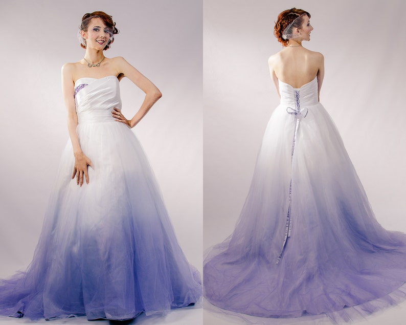 2821b3f2ca5 Dip Dyed Wedding Dress Purple Ombre Wedding Dress Couture Etsy