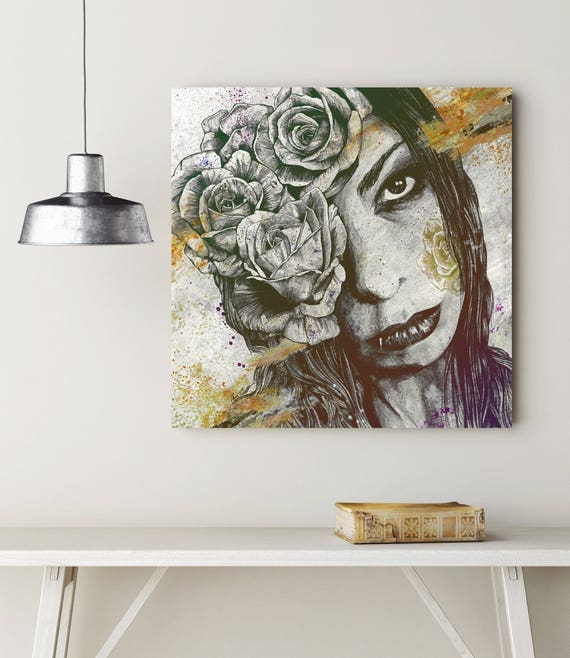 Beautiful Gothic Winter Rose Giclee Canvas Wall Decoration Picture