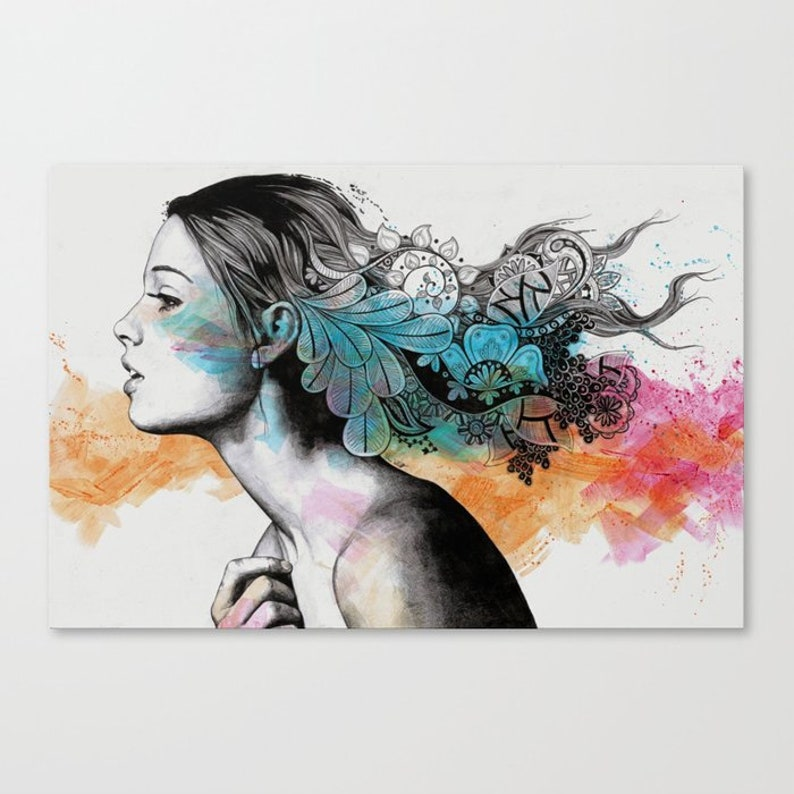 Lady Profile Portrait With Doodle Drawings Female Figure Pencil And Acrylic Original Wall Art Geometric Mandala Art Contemporary Art