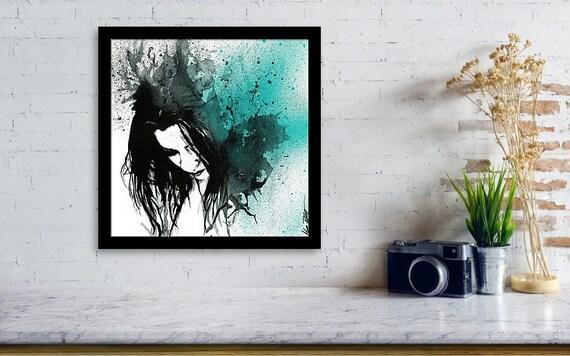 Ritratto femminile astratto stampa artistica giclèe quadro etsy