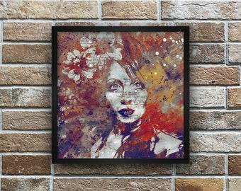 Graffiti fine art print • Sensual lady portrait • Giclee lustre print • Big eyes woman painting • Autumn floral wall art • Female figure