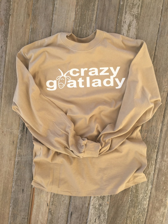 484d061542 Crazy Goat Lady LONG Sleeve TEE T-Shirt uni-sex funny unique | Etsy