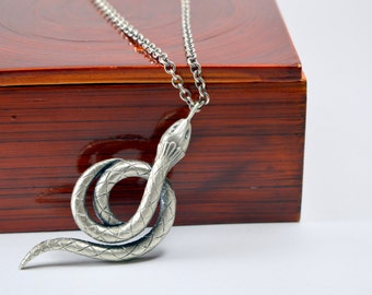 Sterling Silver Snake Pendant // necklace year of the snake charm statement necklace egyptian jewelry rocker serpent occult satanic jewelry