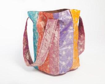 8c5196526d99 Boho Tote Bag - Bohemian Design - Indian Silk - Yoga Purse