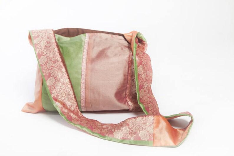 d91a6c72b871 Boho Tote Bag Bohemian Design Indian Silk Yoga Purse