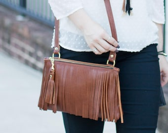 Camel Leather Crossbody - Fringe Purse - Tan Leather Boho Bag - Brown Leather Fringe & Tassel Handbag