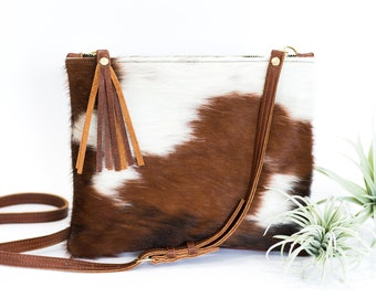 be5db3fb2a07 Cowhide Crossbody - Brown   White Cowhide Fur Purse - Zipper and Tassel  Clutch - Brown Leather with Cowhide Bag - Cowhide Clutch