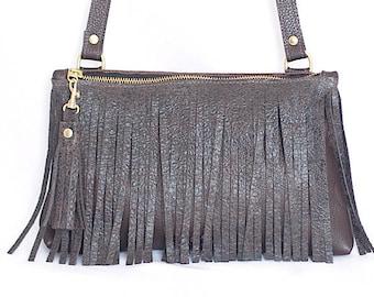 Brown Leather Crossbody - Fringe Purse - Brown Leather Boho Bag - Brown Leather Fringe & Tassel Handbag - Boho Purse