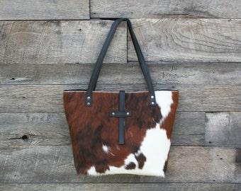 b033859dc Cowhide Tote - Hair on Cowhide Purse - Cowhide Bag - Brown / White Fur  Handbag