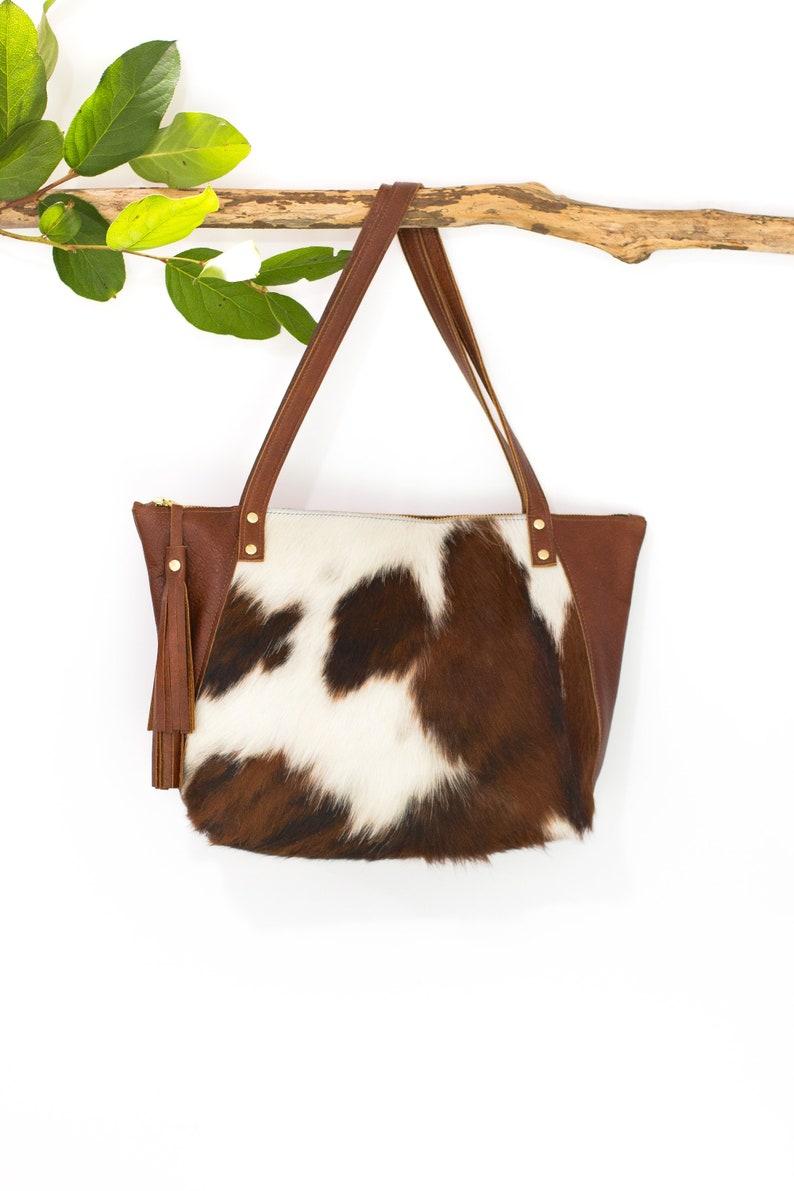 Brown  White Fur Handbag Cowhide Bag Leather Tassel and Zipper Shoulder Bag Hair on Cowhide Purse