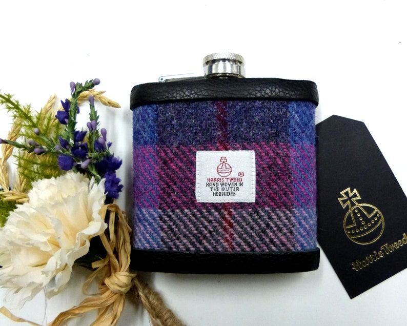 Harris Tweed hip flask in rich purple red pink and blue image 0