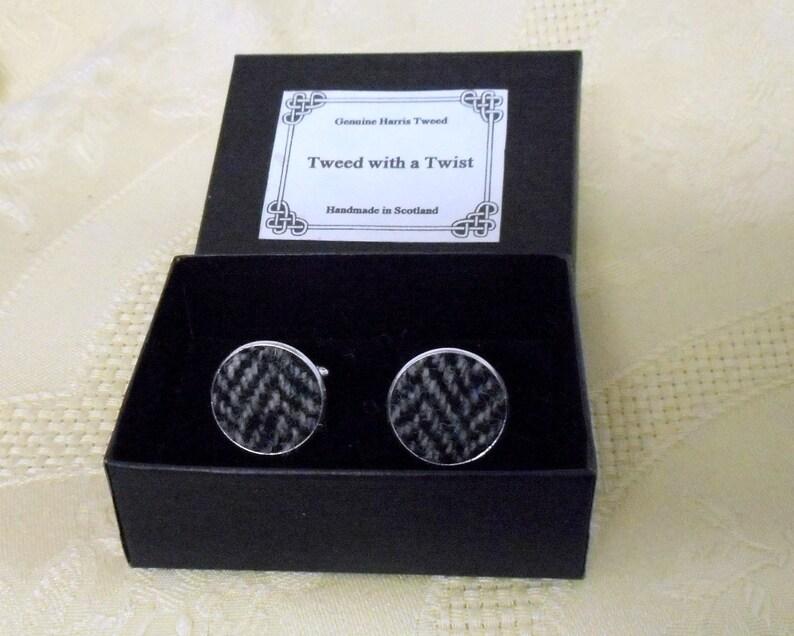 Harris Tweed cuff links silver grey herringbone made in image 0