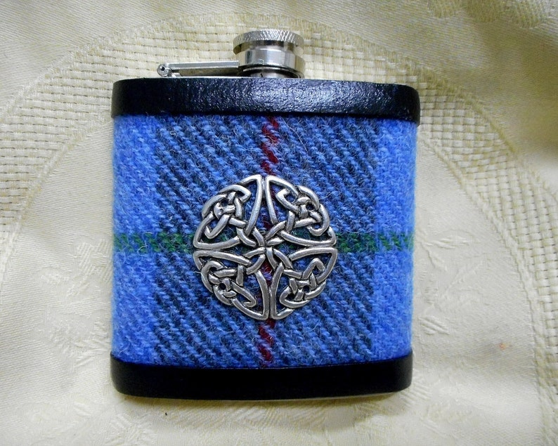 Harris Tweed hip flask blue green grey mens gift Celtic knot image 0