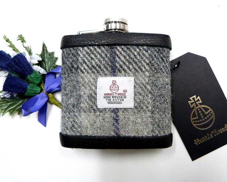 Harris Tweed hip flask in in silver grey traditional plaid image 0