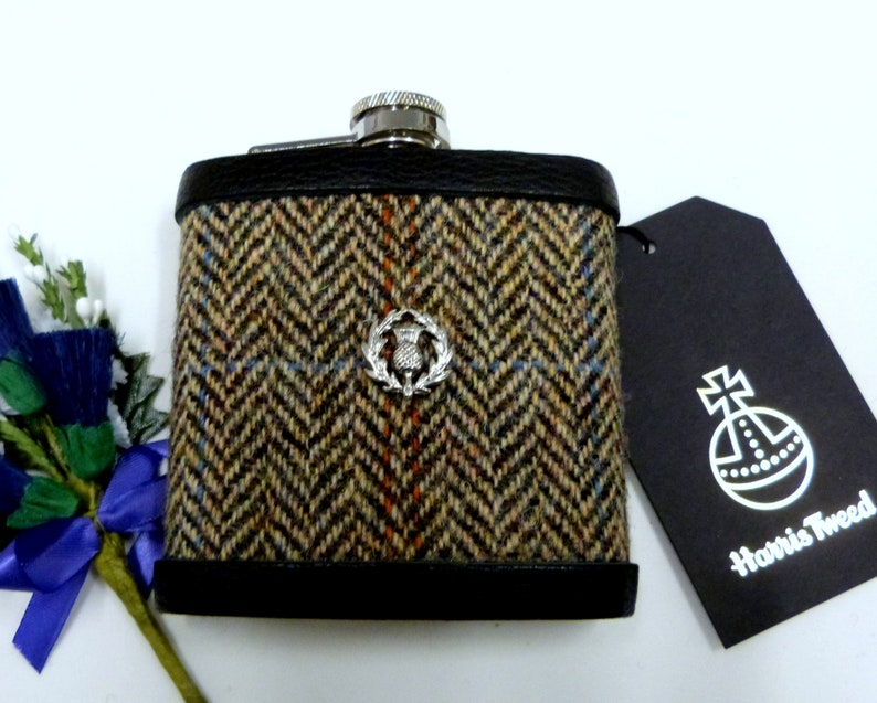 Harris Tweed hip flask with Scottish thistle Brown cream and image 0