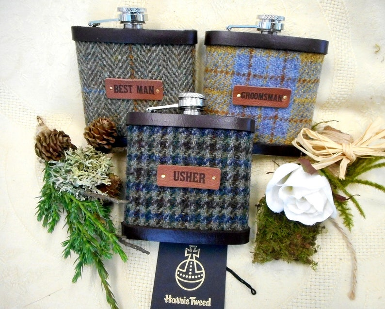 Rustic or Barn wedding gifts Harris Tweed hip flasks set of image 0