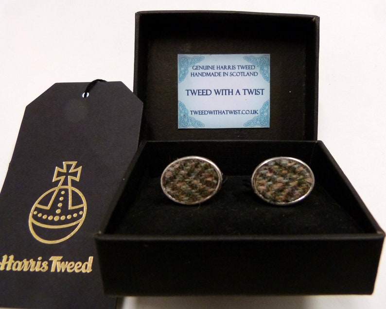 Olive green / brown Harris Tweed cuff links made in Scotland image 0