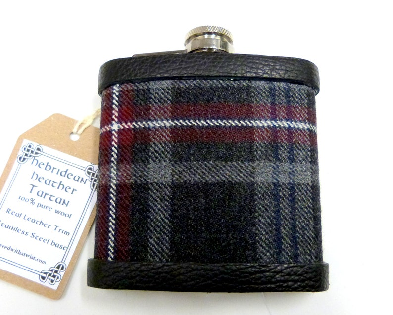 Tartan hip flask Hebridean Heather plaid Scottish gift for men image 0