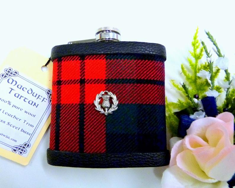 Tartan hip flask in Your 0wn Clan or Family Tartan  with image 0