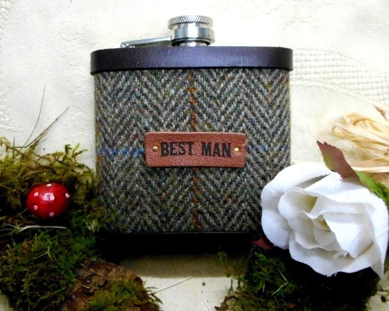 Best Man gift Rustic wedding  Harris Tweed hip flask olive image 0