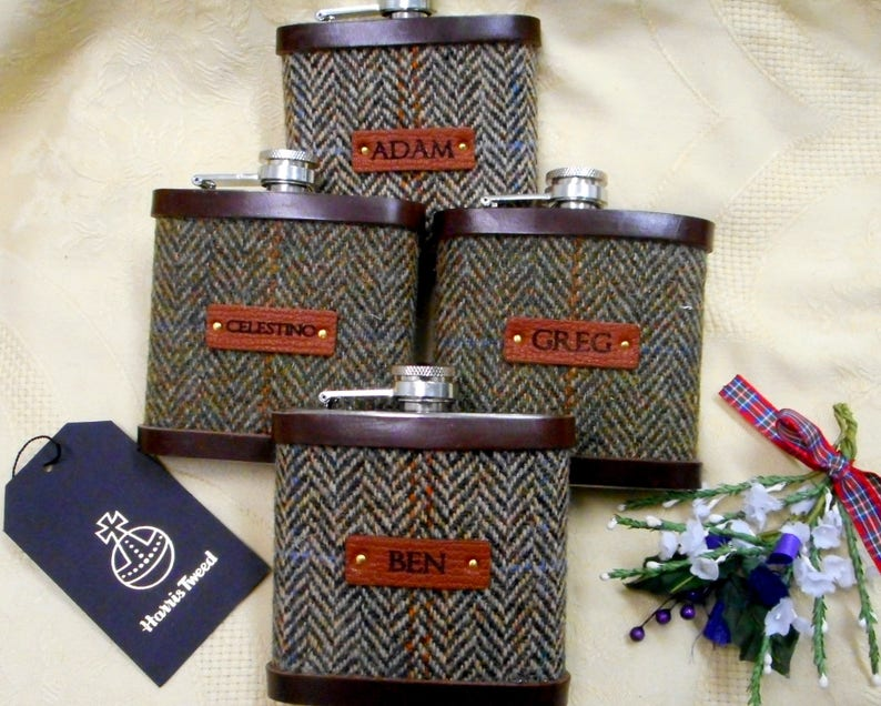 Personalised Groomsman gifts with names Harris Tweed hip image 0