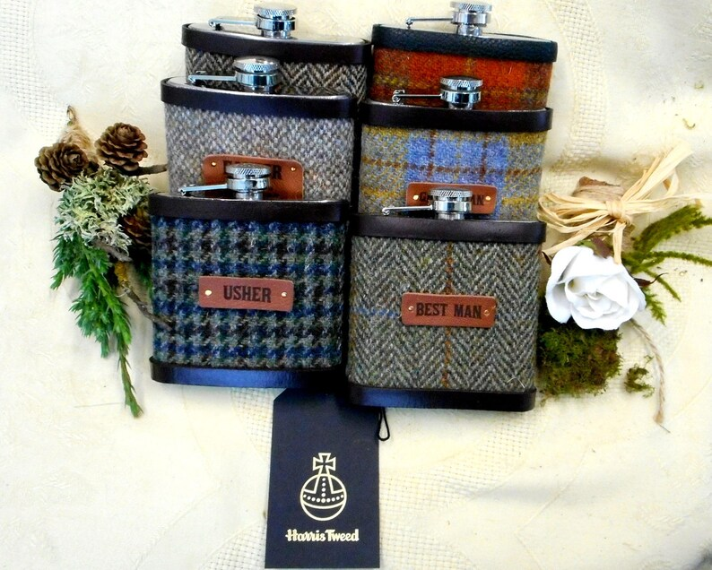 Best man and Groomsmens gifts set of six Harris Tweed hip image 0