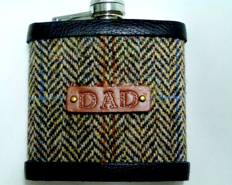 Brown  Herringbone Harris Tweed hip flask with hand embossed image 0