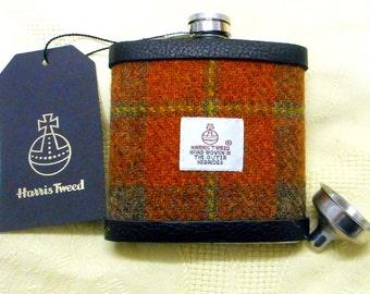 Harris Tweed hip flask russet brown green tartan mens gift retirement gift best man usher groomsman birthday 21st made in Scotland  UK
